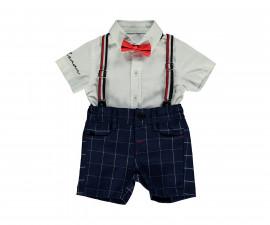 Bebetto Stylish Boy Weaving Baby 4 Pcs Set (Shirt+Pants Short+Bow Tie+Suspenders) - K3123
