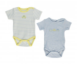 Bebetto Dear Car Cotton Baby Bodysuit 2 Pcs - Short Sleeved - Month (Stripes) - T2290
