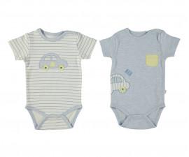 Bebetto Dear Car Cotton Baby Bodysuit 2 Pcs - Short Sleeved - Age - T2291