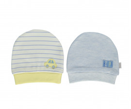 Bebetto Dear Car Cotton Baby Cap With Strap 2 Pcs Pack - T2294-0/3M