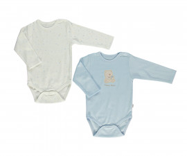 Bebetto Little Bears Cotton Baby Bodysuit 2 Pcs - Long Sleeved - Age - T2304