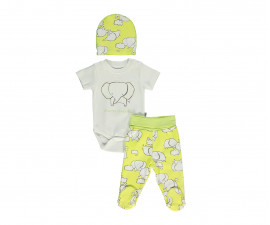 Bebetto Dreaming Cotton Baby 3 Pcs Set (Bodysuit-Pants W/Feet-Cap) - T2310