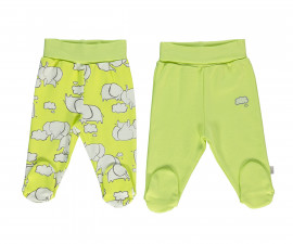 Bebetto Dreaming Cotton Baby Pants W/Feet 2 Pcs - T2314g