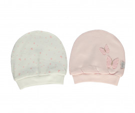 Bebetto My Dream World Cotton Baby Cap With Strap 2 Pcs Pack - T2336-0/3M