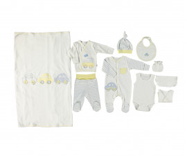 Bebetto Dear Car Cotton Baby Newborn Set 10 Pcs  - Z696-0/3M