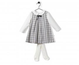 Bebetto College Girl Weaving Baby 3 Pcs Set (Dress+Sweatshirt+Panty Hose) - K3227