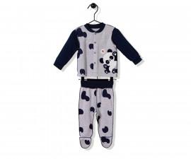 Bebetto Confused Panda Cotton Baby Pajamas Set W/Feet- 2 Pcs - F1141