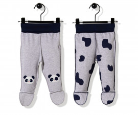 Bebetto Confused Panda Cotton Baby Pants W/Feet 2 Pcs - T2503