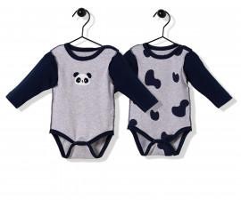 Bebetto Confused Panda Cotton Baby Bodysuit 2 Pcs - Long Sleeved - T2505