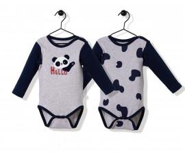 Bebetto Confused Panda Cotton Baby Bodysuit 2 Pcs - Long Sleeved - T2506