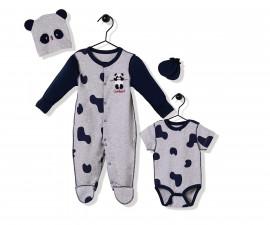 Bebetto Confused Panda Cotton Baby Romper 4 Pcs - Z738