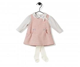 Bebetto Cute Face Quilted Baby 3 Pcs Set (Sweatshirt+Dress+Panty Hose) - K2835