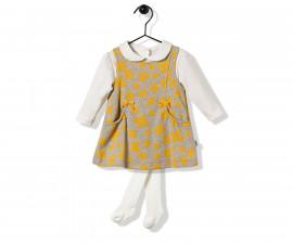 Bebetto Flowery Baby 3 Pcs Set (Dress+Sweatshirt+Panty Hose) - K2854