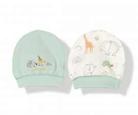 Bebetto Funny Safari Cotton Baby Cap 2Pcs - C745m