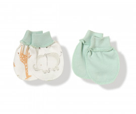 Bebetto Funny Safari Cotton Baby Mittens 2 Pcs - C746m