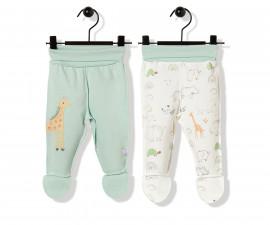 Bebetto Funny Safari Cotton Baby Pants W/Feet 2 Pcs - T2490m