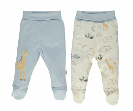 Bebetto Funny Safari Cotton Baby Pants W/Feet 2 Pcs - T2490b