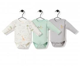 Bebetto Funny Safari Cotton Baby Bodysuit - Long Sleeved - T2493m