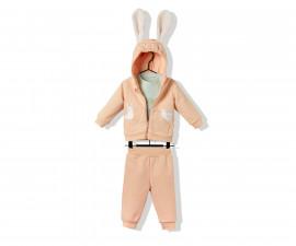 Bebetto Happy Cuties Cotton Baby 3 Pcs Set (Hooded Cardigan+Sweatshirt+Pants) - K3199