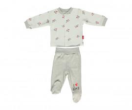 Bebetto Mum & Dad 21 Cotton Baby Pajamas Set W/Feet- 2 Pcs - F1130