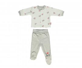 Bebetto Mum & Dad 21 Cotton Baby Pajamas Set W/Feet- 2 Pcs - F1135