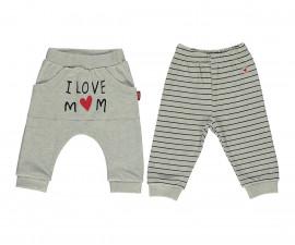 Bebetto Mum & Dad 21 Cotton Baby Pants W/Feet 2 Pcs - T2398