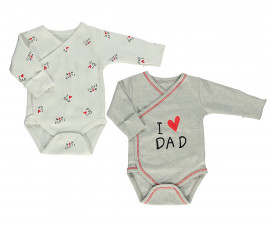 Bebetto Mum & Dad 21 Cotton Baby Bodysuit 2 Pcs - Twilled - T2410