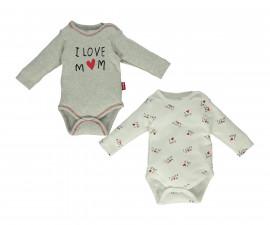 Bebetto Mum & Dad 21 Cotton Baby Bodysuit 2 Pcs - Long Sleeved - T2650