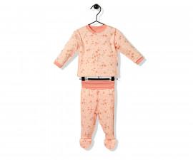 Bebetto Naturel Home Cotton Baby Pajamas Set W/Feet- 2 Pcs - F1136