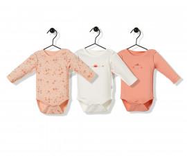 Bebetto Naturel Home 3 Pcs Cotton Baby Long Sleeved Bodysuit - T2482
