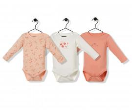 Bebetto Naturel Home 3 Pcs Cotton Baby Long Sleeved Bodysuit - T2483