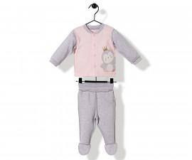 Bebetto Princess Penguin Cotton Baby Pajamas Set W/Feet- 2 Pcs - F1146