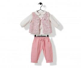 Bebetto Tiny Points Weaving Baby 3 Pcs Set (Sweatshirt+Pants+Vest) - K3258