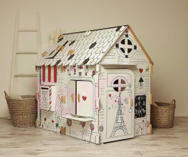 Картонена детска къща за игра Френско кафене XL