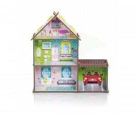 Картонена детска къща за кукли с гараж