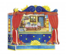 детска играчка дървен куклен театър Goki