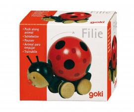 детска играчка дървена Калинка за бутане Goki