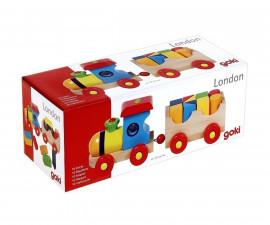 детска играчка дървено влакче Лондон Goki
