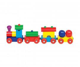 детска играчка дървено влакче с магнитно свързване Перу Goki