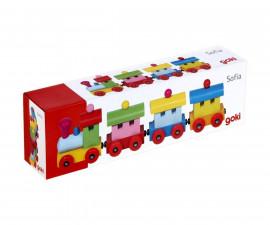 детска играчка дървено влакче с магнитно свързване София Goki
