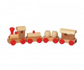 детска играчка дървено влакче с магнитно свързване Goki