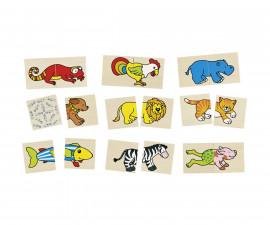 детска играчка дървена игра за памет и пъзел Смешни животни Goki