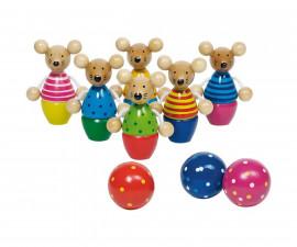детска играчка дървени кегели Мишки Goki