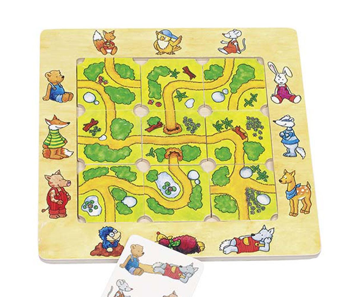детска дървена игра-пъзел Намери пътя Goki