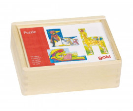 детска играчка дървени кубчета Смешни животни Goki