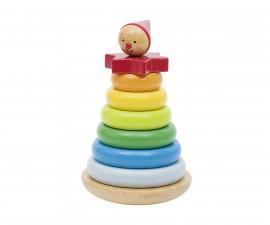 детска дървена играчка за сортиране (низанка) Клатушкащо се човече Goki