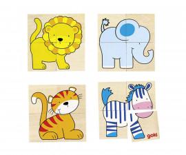 детска дървена играчка за сортиране (низанка) Замък Goki