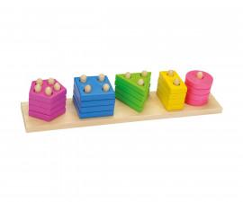 детска дървена играчка за сортиране (низанка) Цветове Goki