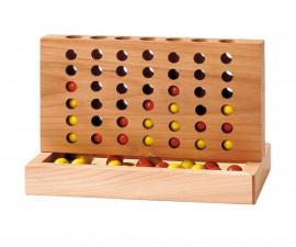 детска стратегическа дървена настолна игра Четири в редица Goki