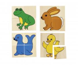 детска дървена игра за памет и пъзел Каремо с 5 животни Goki